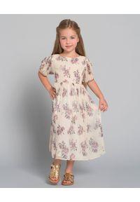 LOVE SHACK FANCY KIDS - Sukienka z jedwabiu 2-12 lat. Kolor: beżowy. Materiał: jedwab. Wzór: kwiaty, aplikacja. Sezon: lato