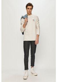 Beżowa koszulka z długim rękawem Tommy Jeans z nadrukiem, casualowa