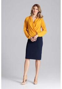 Figl - Kopertowa Musztardowa Bluzka z Gumka na Dole. Kolor: żółty. Materiał: elastan, poliester