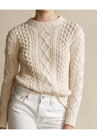 Ralph Lauren - RALPH LAUREN - Beżowy sweter. Okazja: na co dzień. Typ kołnierza: polo. Kolor: beżowy. Materiał: jeans, wełna, bawełna. Wzór: ze splotem. Sezon: wiosna. Styl: casual #4