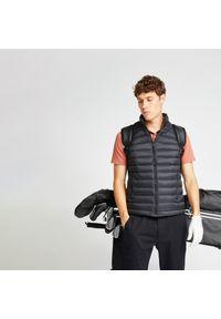 INESIS - Ciepła kamizelka do golfa MW500 męska. Typ kołnierza: golf. Kolor: czarny. Materiał: puch. Długość rękawa: bez rękawów. Sport: golf