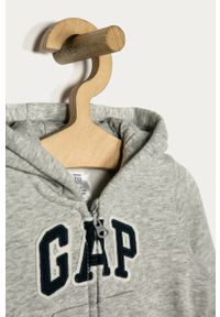 Szara bluza rozpinana GAP z kapturem, na co dzień, casualowa, z aplikacjami
