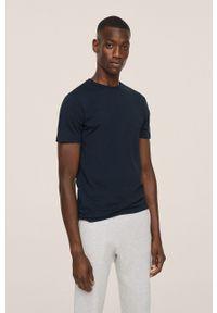 Mango Man - T-shirt bawełniany CHERLO. Kolor: niebieski. Materiał: bawełna