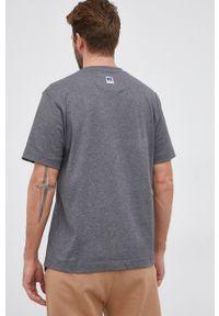 BOSS - Boss - T-shirt bawełniany Boss x Russell Athletic. Kolor: szary. Materiał: bawełna. Wzór: nadruk