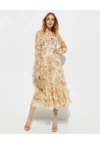 NEEDLE & THREAD - Sukienka Harlequin Rose Ruffle. Okazja: na imprezę, na co dzień. Typ kołnierza: kołnierz z falbankami. Kolor: beżowy. Materiał: tiul, materiał. Wzór: nadruk, aplikacja. Styl: wizytowy, elegancki, casual