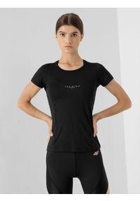 4f - Koszulka treningowa szybkoschnąca damska. Kolor: czarny. Materiał: włókno, dzianina, skóra. Sport: fitness