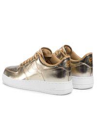 Złote sneakersy Nike Nike Air Force, z cholewką