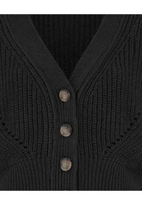 SELF LOVE - Czarny kardigan Oxford. Kolor: czarny. Materiał: wełna, jeans. Długość: długie. Styl: klasyczny
