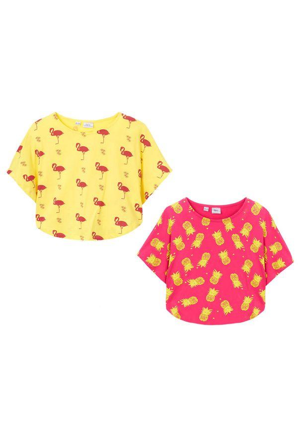 Żółta bluzka bonprix na lato, z nadrukiem, na plażę