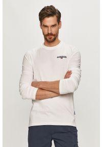 Biała koszulka z długim rękawem Napapijri z nadrukiem, casualowa, na co dzień