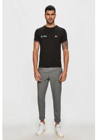Czarny t-shirt Tommy Hilfiger Tailored z aplikacjami, na co dzień, casualowy