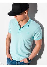 Ombre Clothing - Koszulka męska polo klasyczna bawełniana S1374 - miętowa - XXL. Typ kołnierza: polo. Kolor: miętowy. Materiał: bawełna. Wzór: haft. Styl: klasyczny
