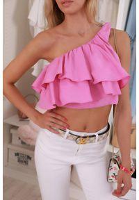 Różowy top IVET w kolorowe wzory, na lato, krótki