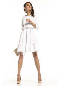Tessita - Biała Lekka Rozkloszowana Sukienka z Falbanką. Kolor: biały. Materiał: elastan, poliester