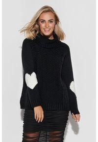 Czarny sweter Makadamia z golfem