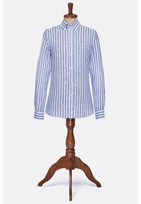 Lancerto - Koszula Niebieska w Prążek Lniana Kalamazoo. Typ kołnierza: button down. Kolor: niebieski. Materiał: len. Wzór: prążki. Styl: klasyczny, vintage