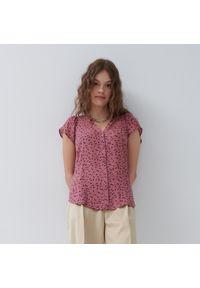House - Wzorzysta bluzka z wiskozy - Różowy. Kolor: różowy. Materiał: wiskoza