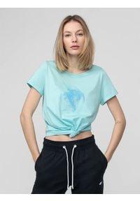 4f - T-shirt damski. Materiał: dzianina. Długość rękawa: krótki rękaw
