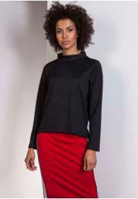Czarna bluzka z długim rękawem Lanti ze stójką, wizytowa