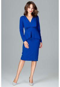 Katrus - Szafirowa Wizytowa Sukienka z Asymetryczna Baskinką. Kolor: niebieski. Materiał: poliester, wiskoza. Typ sukienki: asymetryczne, baskinki. Styl: wizytowy