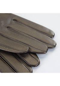 Wittchen - Damskie rękawiczki z gładkiej skóry. Kolor: brązowy. Materiał: skóra. Wzór: gładki. Styl: elegancki
