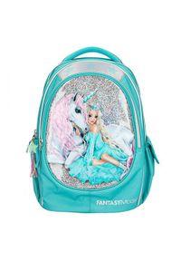 Fantasy Model Plecak szkolny , Jasnoniebieski, wróżka + jednorożec, z cekinami. Kolor: niebieski