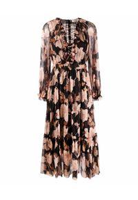ZIMMERMANN - Sukienka z kwiatowym nadrukiem. Kolor: czarny. Materiał: materiał. Długość rękawa: długi rękaw. Wzór: kwiaty, nadruk. Długość: maxi