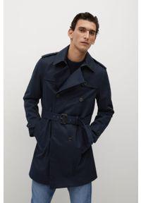 Niebieski płaszcz Mango Man gładki, casualowy
