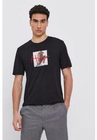 Hugo - T-shirt bawełniany. Kolor: czarny. Materiał: bawełna. Wzór: nadruk