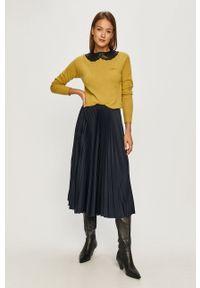 Pinko - Sweter. Okazja: na co dzień. Kolor: żółty. Materiał: dzianina. Długość rękawa: długi rękaw. Długość: długie. Styl: casual