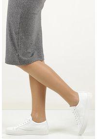 Casu - Białe buty sportowe skórzane sznurowane creator s-1872as. Okazja: na co dzień. Kolor: biały. Materiał: skóra. Szerokość cholewki: normalna