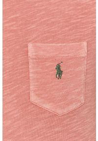 Polo Ralph Lauren - T-shirt. Okazja: na co dzień. Typ kołnierza: polo. Kolor: różowy. Materiał: dzianina. Wzór: aplikacja. Styl: casual