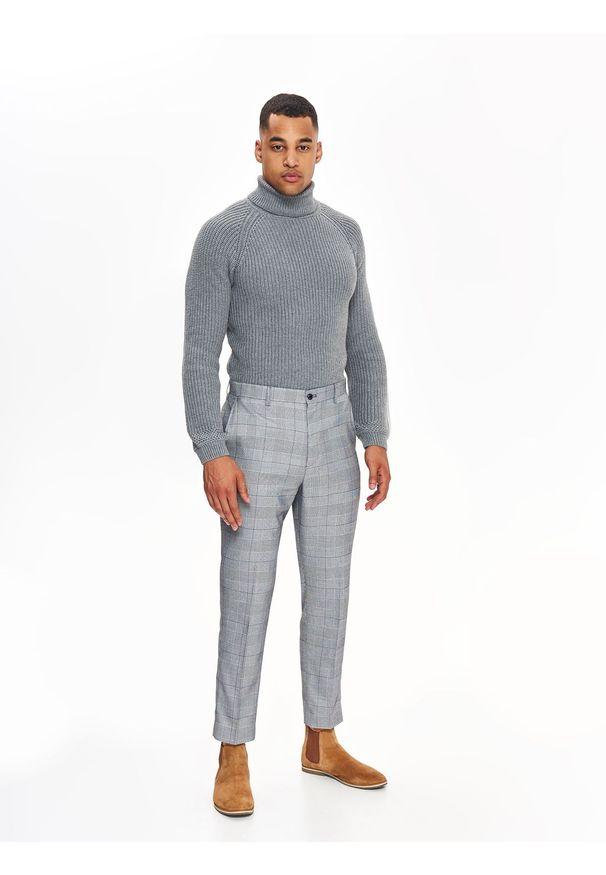 Szare spodnie TOP SECRET na co dzień, na zimę, w kolorowe wzory, casualowe