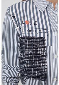 Desigual - Koszula. Okazja: na co dzień. Kolor: szary. Materiał: włókno. Długość rękawa: długi rękaw. Długość: długie. Wzór: aplikacja. Styl: casual