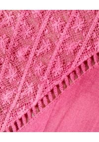 LOVE SHACK FANCY - Różowa sukienka Viola. Kolor: fioletowy, różowy, wielokolorowy. Materiał: bawełna, koronka. Wzór: kwiaty, haft. Długość: mini
