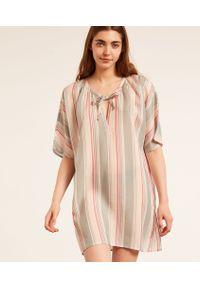 Sebabo Koszula Nocna W Paski - Seledynowy - Etam. Kolor: zielony. Materiał: włókno, wiskoza, materiał. Długość: krótkie. Wzór: paski