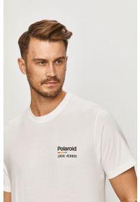 Biały t-shirt Local Heroes z nadrukiem, na co dzień, casualowy