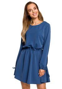 MOE - Rozkloszowana lekko połyskująca sukienka z regulowaną talią. Materiał: tkanina, elastan, materiał. Typ sukienki: rozkloszowane. Styl: boho