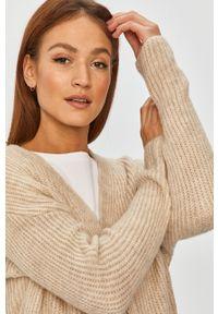 Beżowy sweter rozpinany Answear Lab wakacyjny, z długim rękawem, długi, na co dzień