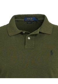 Ralph Lauren - RALPH LAUREN - Zielona koszulka polo Slim Fit. Typ kołnierza: polo. Kolor: zielony. Materiał: bawełna, prążkowany. Długość rękawa: długi rękaw. Długość: długie. Wzór: haft