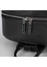 Wittchen - Damski plecak ze skóry minimalistyczny duży. Kolor: czarny. Materiał: skóra. Wzór: haft, paski. Styl: sportowy, elegancki, casual