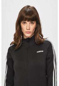Czarna bluza rozpinana Adidas bez kaptura, raglanowy rękaw