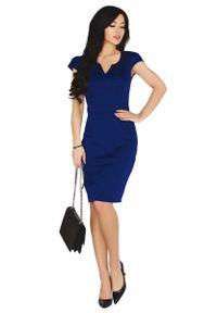 Merribel - Granatowa Dopasowana Sukienka z Ciekawym Dekoltem. Kolor: niebieski. Materiał: bawełna, poliester