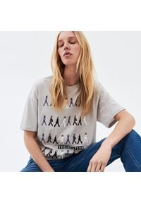 Reserved - Bawełniany T-shirt - Jasny szary. Kolor: szary. Materiał: bawełna