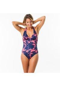 OLAIAN - Kostium kąpielowy jednoczęściowy CLEA POLY damski. Kolor: różowy. Materiał: elastan, poliester, materiał, poliamid