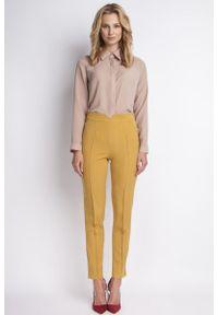 Żółte spodnie z wysokim stanem Lanti z podwyższonym stanem, klasyczne