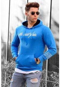 IVET - Bluza męska EZRA BLUE. Okazja: na co dzień. Typ kołnierza: kaptur. Kolor: niebieski. Wzór: nadruk. Styl: casual