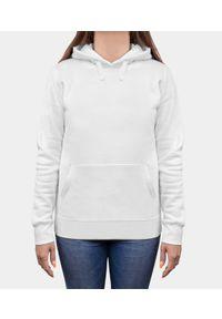 MegaKoszulki - Bluza damska premium z kapturem - biała (gładka, bez nadruku). Typ kołnierza: kaptur. Kolor: biały. Materiał: bawełna. Wzór: gładki