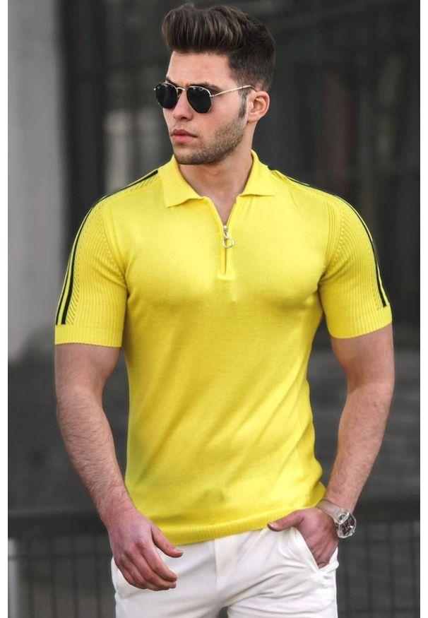 IVET - T-shirt męski DOMINIC YELLOW. Okazja: na co dzień. Typ kołnierza: polo. Kolor: żółty. Materiał: materiał. Styl: casual