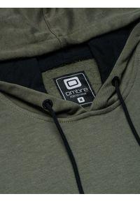 Brązowa bluza Ombre Clothing z aplikacjami, z kapturem